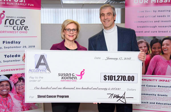 Toledo-based AccuShred Gives More Than $100,000 to Susan G. Komen Northwest Ohio Post Thumbnail