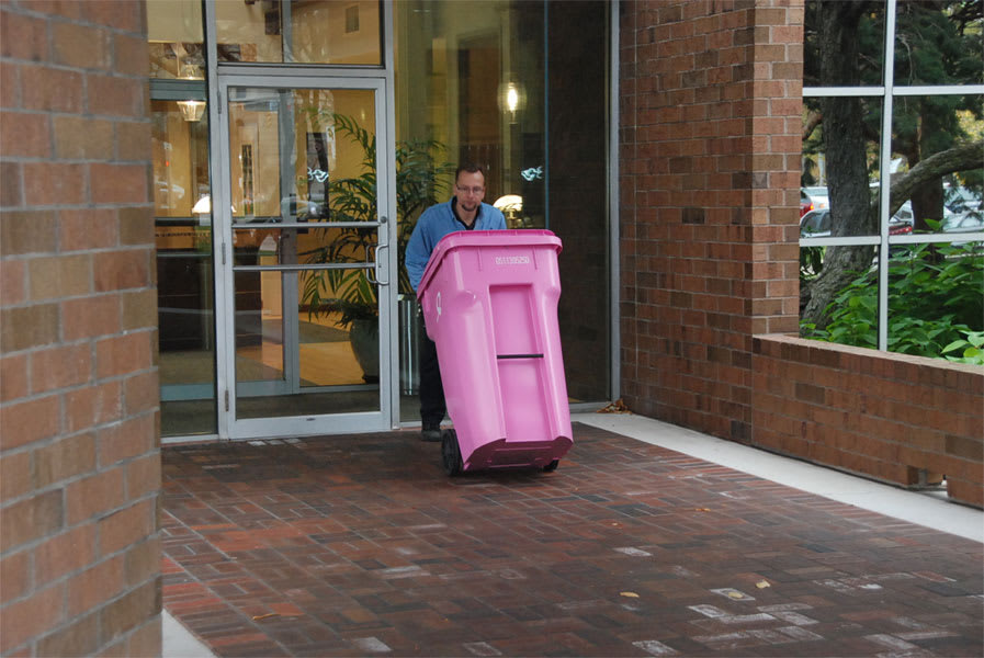 One of AccuShred's pink bins for our Shred Cancer program.