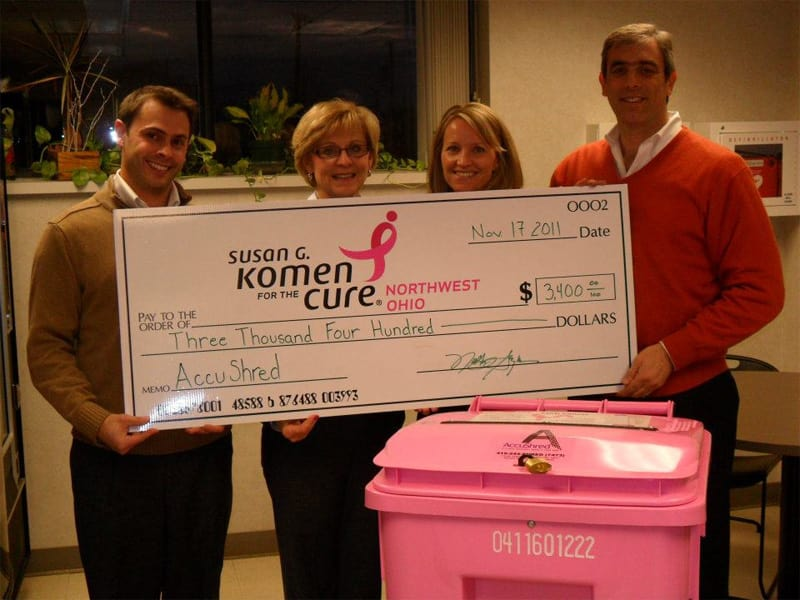 AccuShred donates to Susan G. Komen as a part of our Shred Cancer Program.