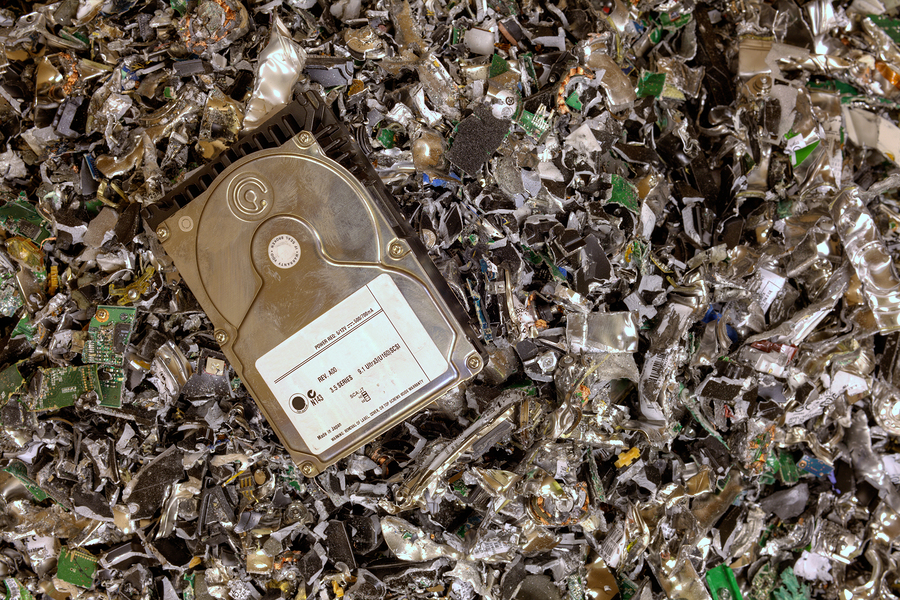 e-waste, shredded hard drives