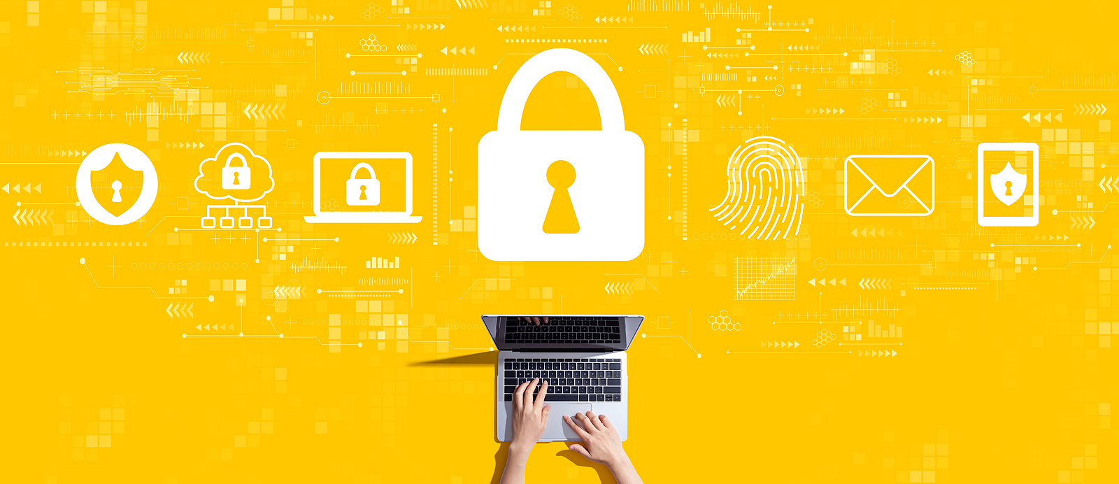Document security concept with person working with a laptop